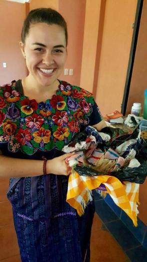 Traditional Guatemalan clothing: Guipil (shirt) and Corte (skirt). Here I was passing out tortillas to kids at the Feeding Center.